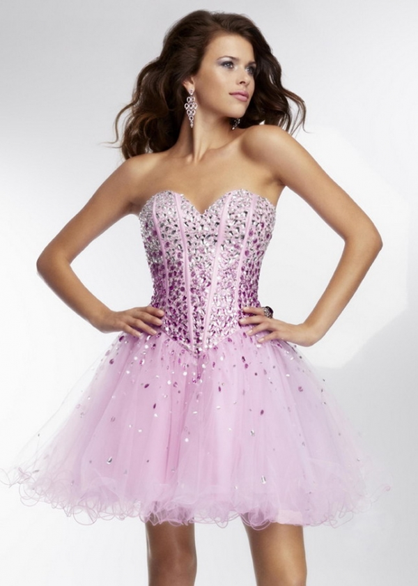 Light Purple Strapless Ombre Beading Corst Top Tulle Party Dresses 2015 cheap on sale - Mori Lee Dresses - Garnitury