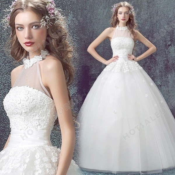 Strapless Luxury Lace flowers Floor-Length 2016 New Custom Made Wedding Dress - Wedding Dresses