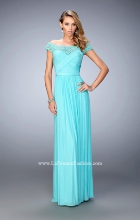 La Femme 21979 Sparkly Beaded Lace Shoulder Prom Dress - $231.00