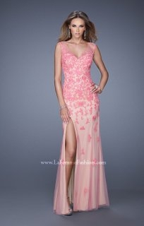 La Femme 20569 Pink Nude V Neck Lace Appliqued Prom Dress - $279.00