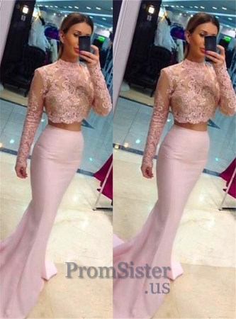 Pink Illusion High Neck Two Piece Mermaid Prom Dress - $185.00