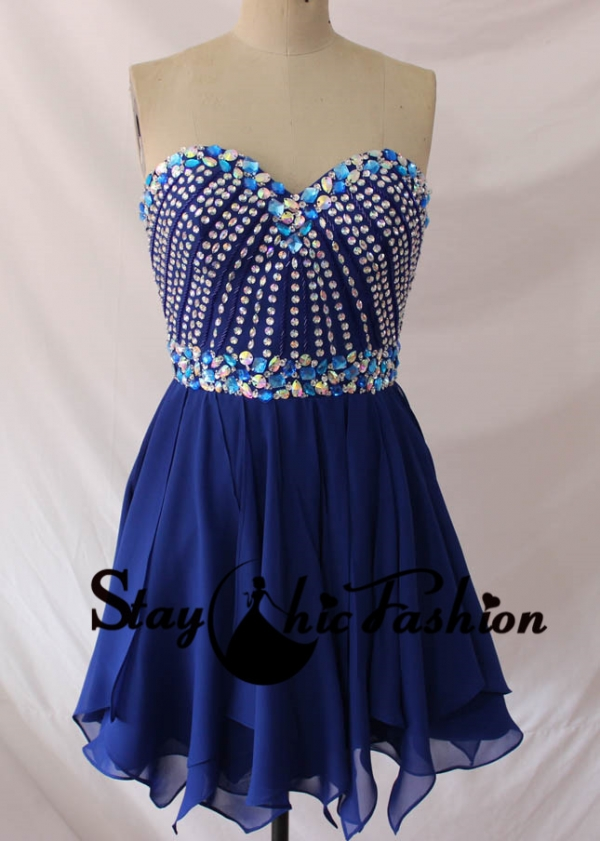 Staychicfashion Royal Short Strapless Rhinestone Beaded Top Dress for Prom 2015 [SC116] - $175.00 : Tailor-made Prom Dresses Sale, Womens Formal Dresses