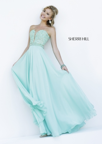 2016 Cheap Sherri Hill 32180 Beaded Mint Lace Evening Gown [Sherri Hill 32180 mint] - $228.00 : homecomingshortdresses.us