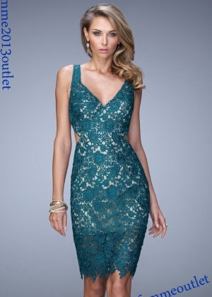 La Femme 21815 Evergreen V Neck Open Back Lace Cocktail Dress Sale [La Femme 21815] - $140.00 : lafemme2013outlet.com - Buty ślubne męskie
