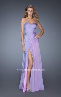 La Femme 19823 Sexy High Slit Strapless Prom Dress - $220.00