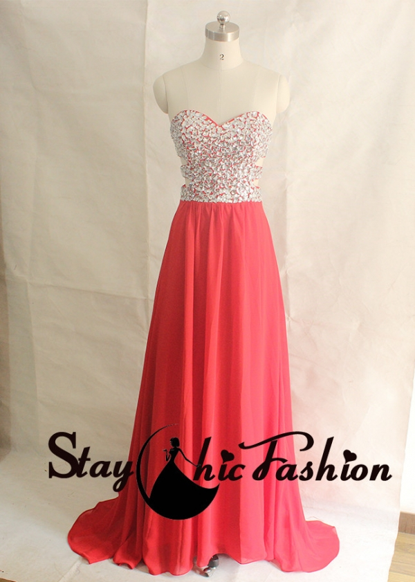 Crystal Stones Beaded Top Cutout Waist Red Long Sweep Train Chiffon Dress [SC418 Red] - $144.00 : Tailor-made Prom Dresses Sale, Womens Formal Dresses
