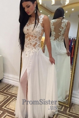 Sexy White Illusion Lace Top Slit Chiffon Prom Dress - $168.00 - Suknie ślubne