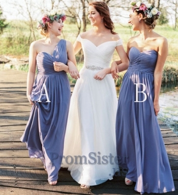 Blue Ruched Top Strapless Long Bridesmaid Dress - $99.00