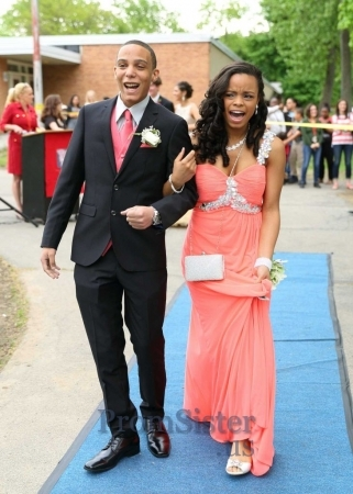 Crystal Beaded One Strap Coral Pleated Long Prom Dress - $185.00