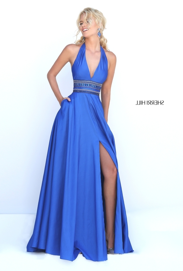 Sherri Hill 50190 Emerald Halter V Neck Jeweled Waist Slit Satin Prom Dress [Sherri Hill 50190 Emerald] - $216.00 : 2016 Sherri Hill Prom Dresses Cheap Sale online.Big Discount Price Sherri Hill