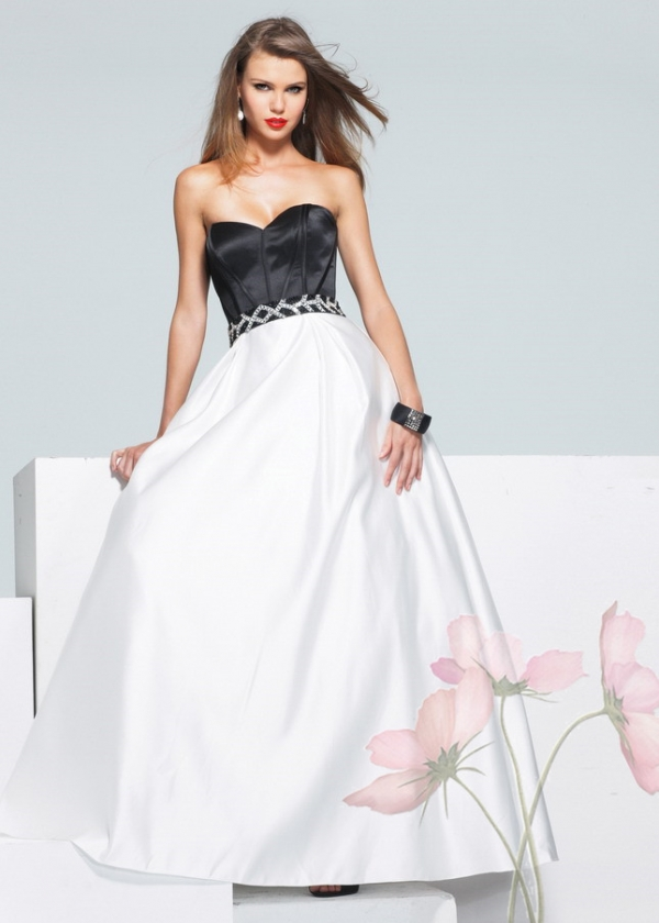 Faviana 6912 Black White Strapless Beaded Belt Prom Ball Gown [Faviana 6912] - $127.00 : Lady in Prom Dresses 2016 Sale|LadyinProm.com