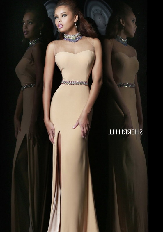 Long Cheap Sherri Hill 4321 Jeweled High Neck Sheer Top Nude Evening Gown [Sherri Hill 4321 Nude] - $218.00 : 2016 Sherri Hill Prom Dresses Cheap Sale online.Big Discount Price Sherri Hill