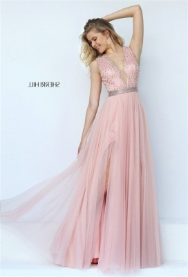 Pink Dreamy Sleeveless Beaded Evening Gown with Diaphanous Flutters [Sherri Hill 50029 pink] - $195.00 : 2016 Sherri Hill Prom Dresses Cheap Sale online.Big Discount Price Sherri Hill