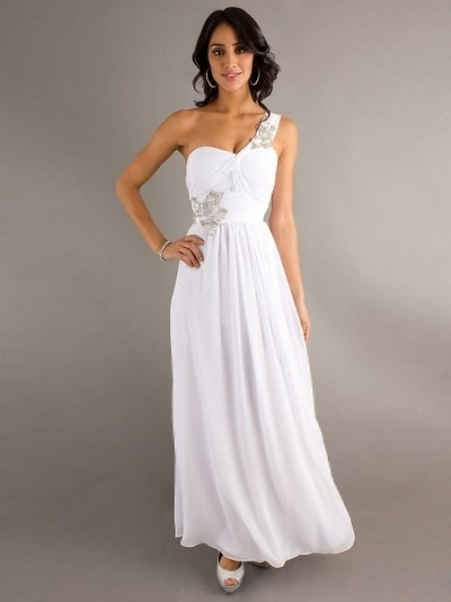 One Shoulder Sleeveless Chiffon A-Line Floor-Length Dress