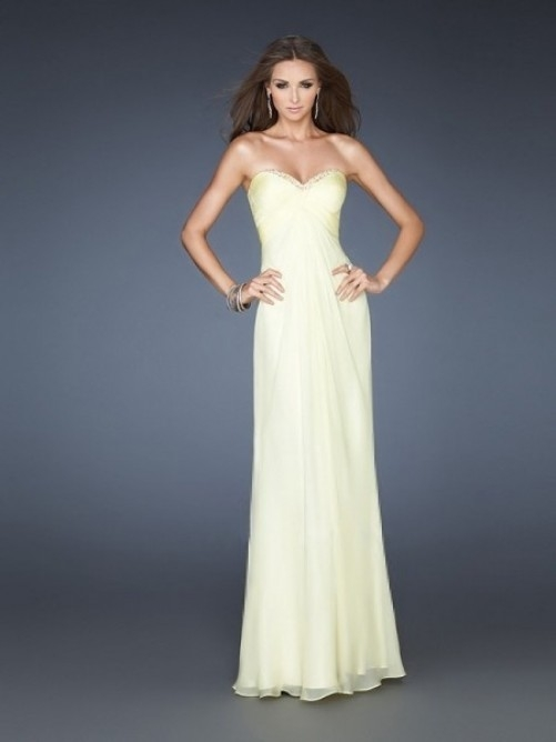 Sleeveless A-Line Sweetheart Floor-Length Chiffon Zipper Dress - Suknie ślubne