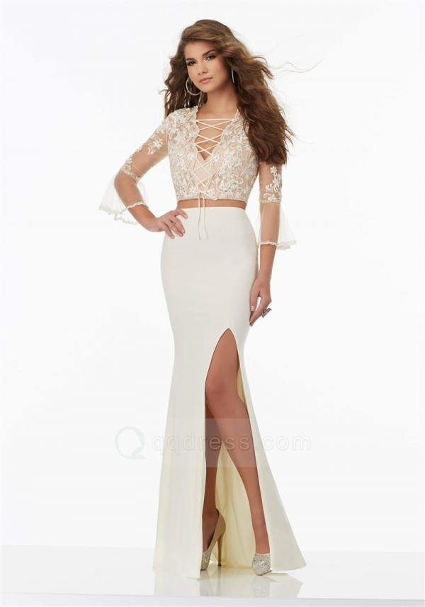 Embroidered Top Jersey Skirt Lace-up Neck 3/4 Sleeve Two Piece Prom Dress