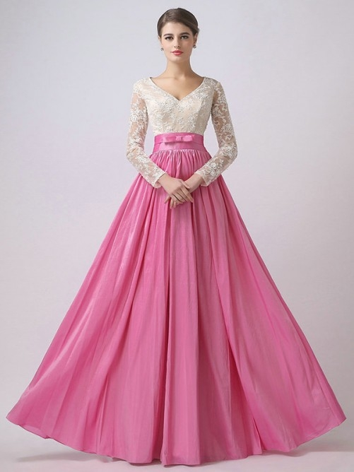 A-Line/Princess Long Sleeves V-neck Chiffon Lace Floor-Length Dresses - Prom Dresses