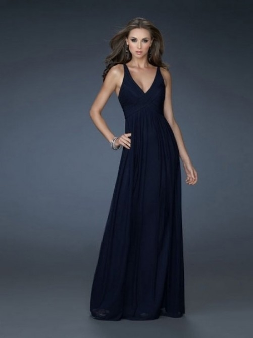 Straps A-Line/Princess Sleeveless Chiffon Floor-Length Gown