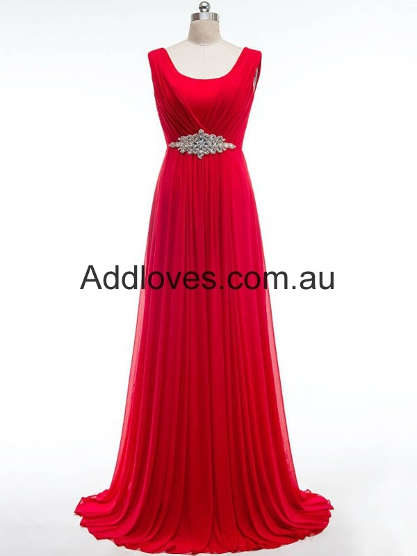 Pretty A-Line Scoop Long Red Chiffon Prom Dresses at addloves.com.au