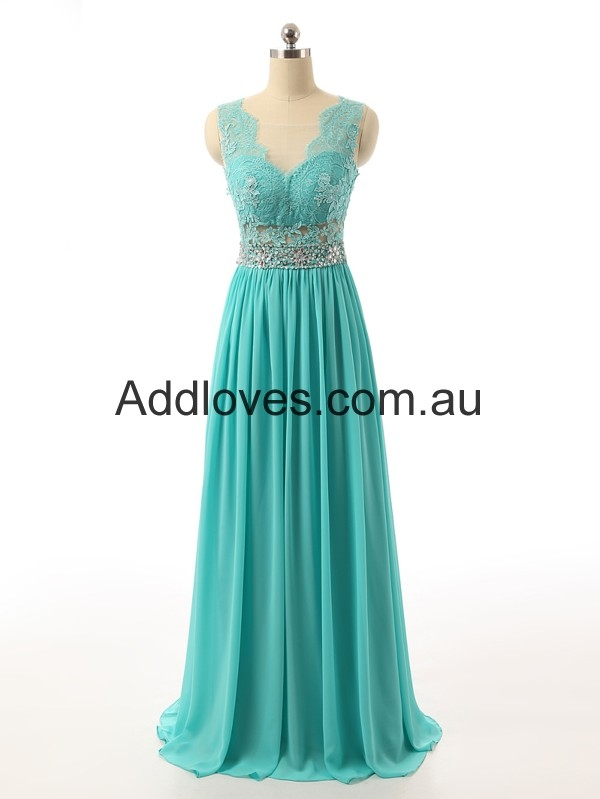 Pretty A-Line Scoop Mint Green Chiffon Prom Dresses at addloves.com.au