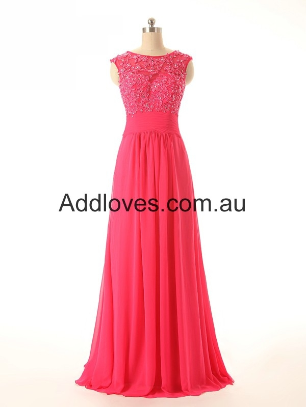Attractive A-Line Scoop Red Chiffon Prom Dresses at addloves.com.au