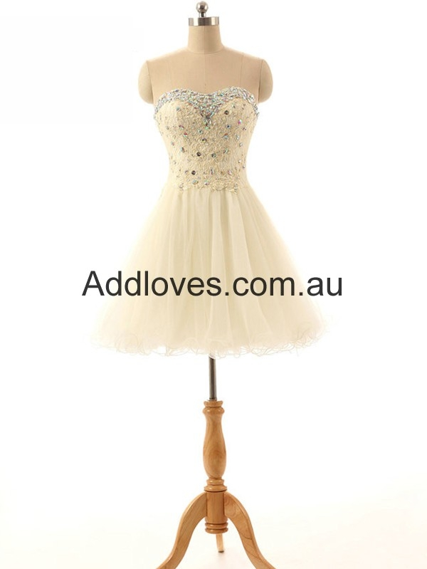 Glorious A-line Short Champagne Prom Dresses at addloves.com.au