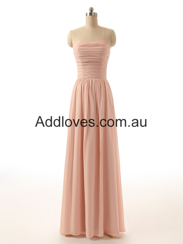 Simple A-Line Sleeveless Floor-Length Chiffon Prom Dresses at addloves.com.au