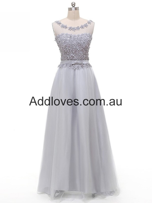Amazing A-Line Silver Floor-Length Satin Prom Dresses at addloves.com.au