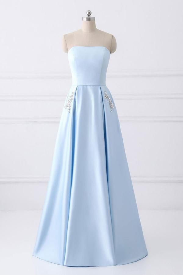 Light Blue A Line Floor Length Strapless Sleeveless Lace Up Prom Dress - Ombreprom