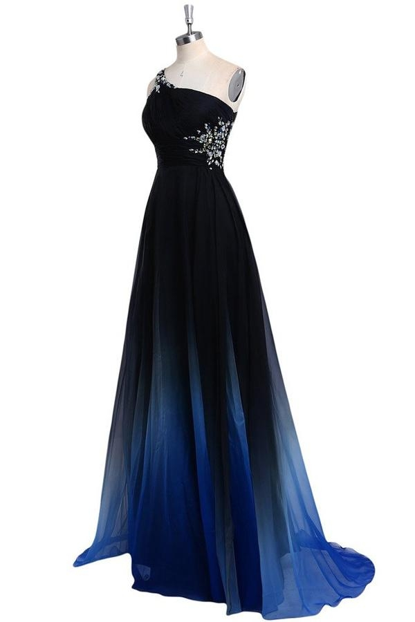 A Line Sweep Train One Shoulder Sleeveless Open Back Beading Prom Dress - Ombreprom