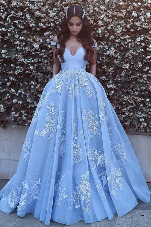 Blue Ball Gown Court Train V Neck Off Shoulder V Back Long Prom Dress - Ombreprom