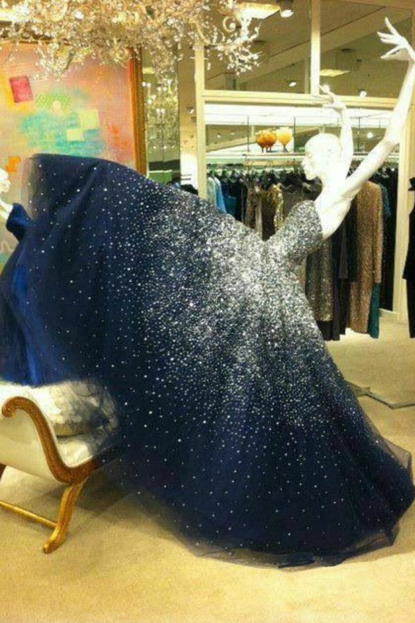 Navyblue Floor Length A Line Sweetheart Sparkle Starry Nigh Prom Dress - Ombreprom
