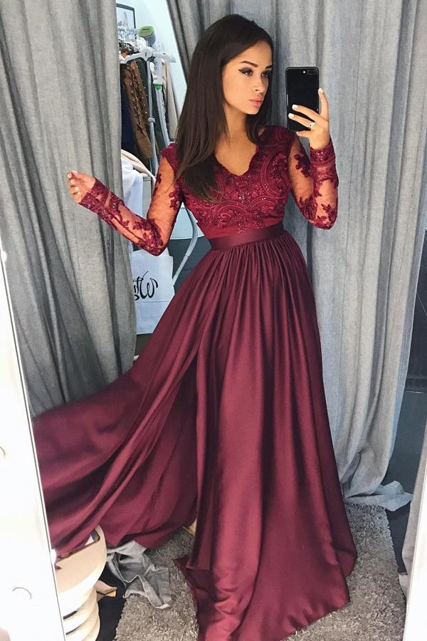 Burgundy A Line Brush Train V Neck Long Sleeve Lace Prom Dress,Party - Ombreprom