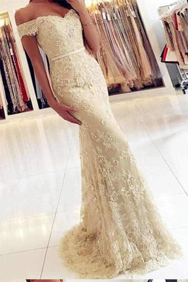Fashion Champagne Off Shoulder Prom Party Dresses,Formal Evening - Ombreprom - Zaręczyny