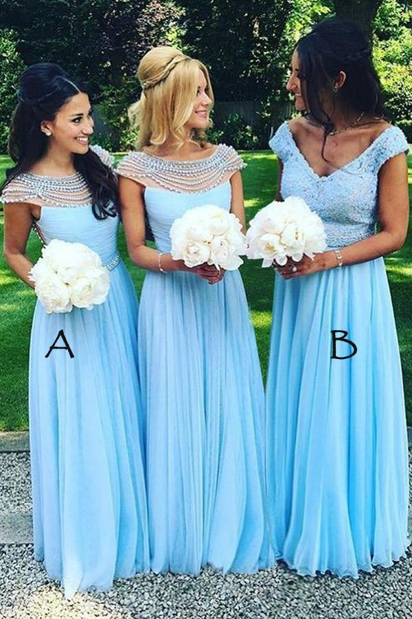 Blue A Line Floor Length V Neck Capped Sleeve Layers Bridesmaid Dress - Ombreprom - Dekoracje sali