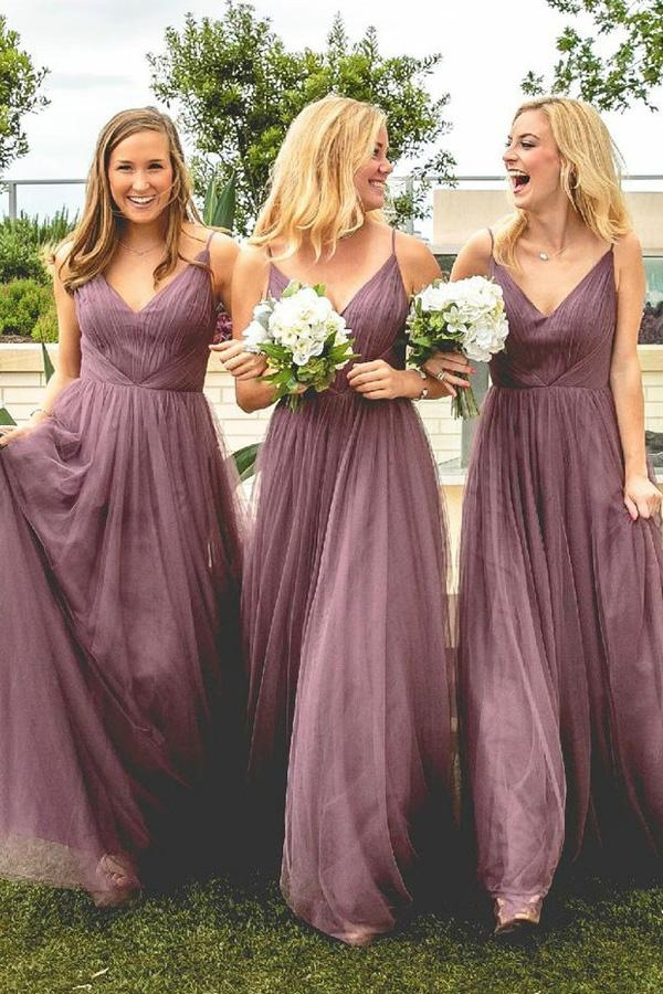 A Line Floor Length Spaghetti Sleeveless Tulle Bridesmaid Dress - Ombreprom - Zaręczyny