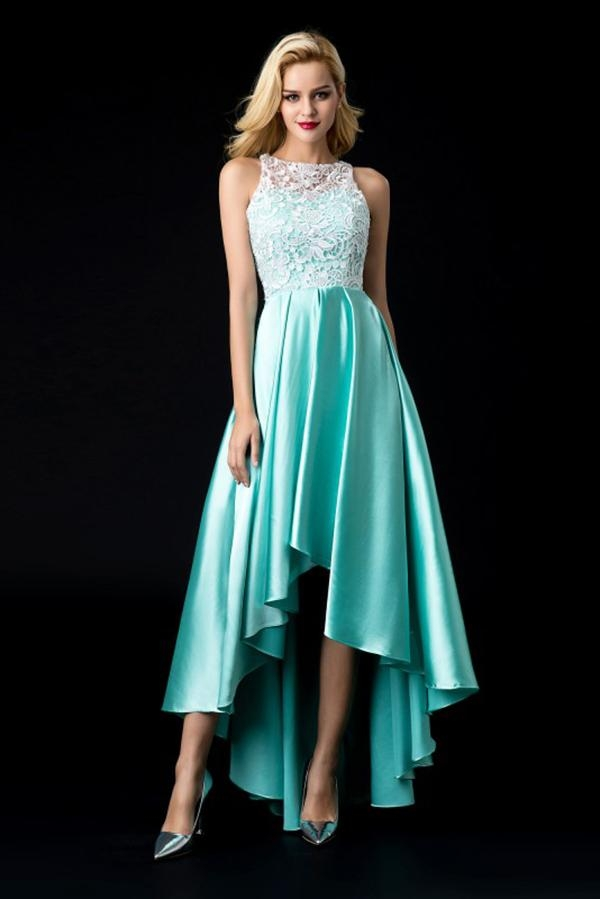 Cheap Elegant Green Satin A-line Asymmetrical Sleeveless Prom Dress wi - Ombreprom