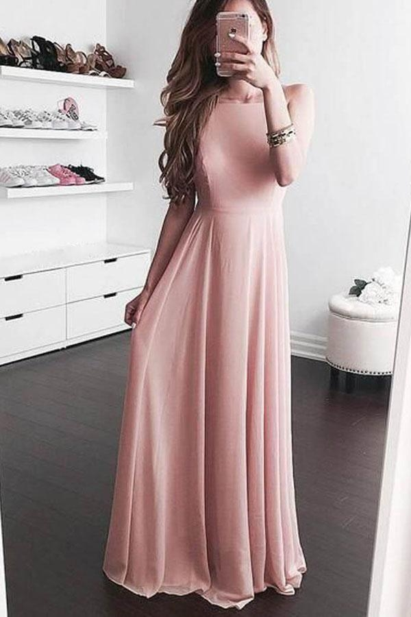 Pink A Line Floor Length Sleeveless Chiffon Prom Dress,Party Dress - Ombreprom