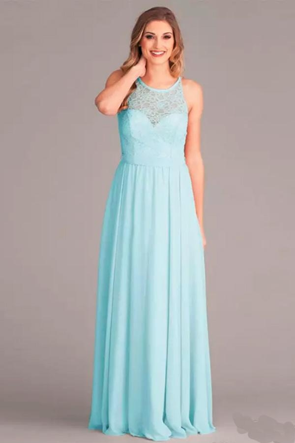 Blue A Line Floor Length Sleeveless Chiffon Bridesmaid Dress - Ombreprom