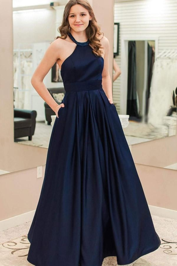 Blue A Line Floor Length Halter Sleeveless Prom Dress,Party Dress - @Ombreprom - Buty ślubne damskie