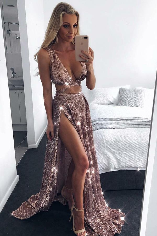 Sparkly Rose Gold Sequins A-Line Sexy Plunge Neckline Slit Prom Dress P583 - Ombreprom