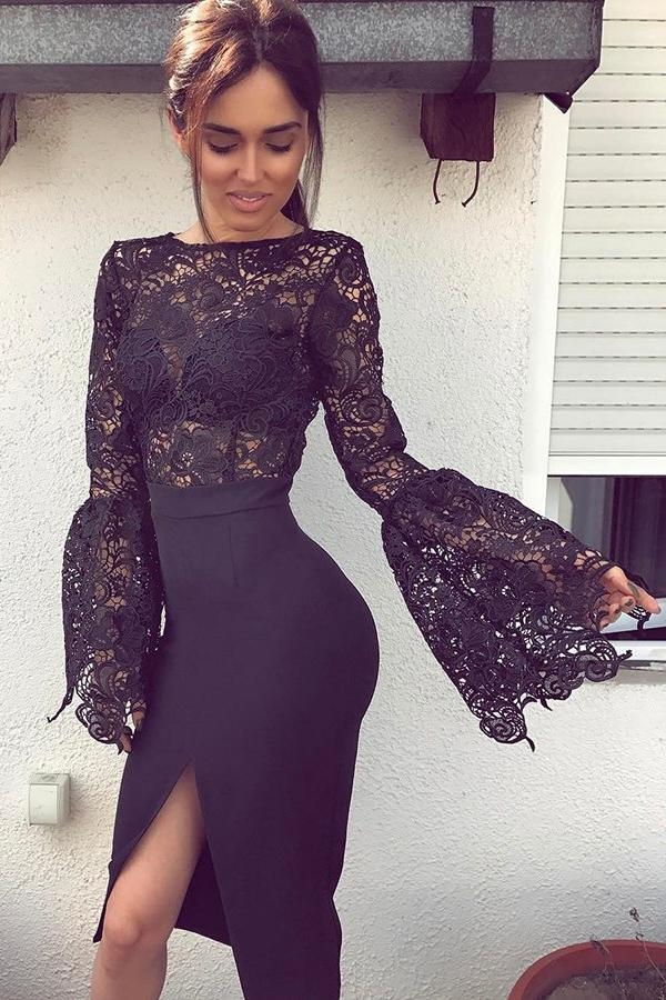 Black Long Horn Sleeves Lace Bodice Split-Side Stretch Satin Prom Dress, Party Dress P596 - Ombreprom