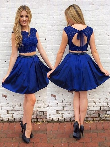Royal Blue Two Piece Keyhole Short Prom Dress, Party Dress, OP207 – ombreprom.co.uk