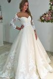Modest Charming Bal Gown Lace Wedding Dresses With Sleeves Bridal Dresses  Dress link:https://bit.ly/3EYjBt8 - Sukienki na wesele