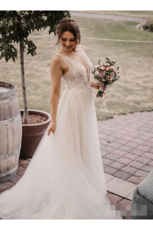 Soft Net Beaded Deep V Illusion A-Line Wedding Gown Graceful Lace Wedding Dress  link:https://bit.ly/39N92eg 10% OFF FOR YOUR FIRST ORDER CODE: RJSGIRL - Sukienki na wesele