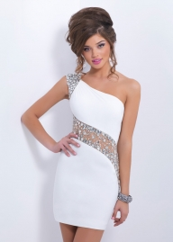 White Blush C153 One Shoulder Jeweled Sheer Tight Homecoming Dress [Blush C153] - $158.90 : 2015 Prom Dresses, 60% off Girls Homecoming Dresses Outlet - Suknie ślubne