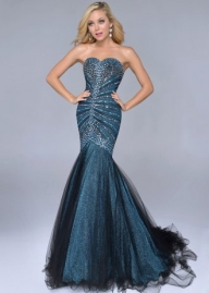 Metallic Teal Strapless Twinkling Beads Sequined Mermaid Gown [Teal Strapless Mermaid Gown] - $277.00 : Cheap Prom Dresses Sale, Affordable Homecoming Dresses For Girls - Sukienki na wesele