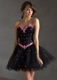 Black Short Pleated Cocktail Dress With Pink Jewelry Embellishments [Black Short Pleated Cocktail Dress] - $183.89 : www.prom2014outlet.com - Sukienki na wesele
