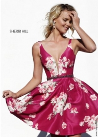 2015 Cheap SAle Sherri Hill 32321 Fall Floral Print Short Dress Prom Dresses [S620-32321] - $218.90 : www.prom2014outlet.com - Sukienki na wesele