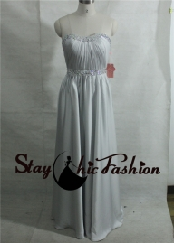 Grey Long Strapless Beaded Ruched Evening Gown [sc56] - $180.00 : Tailor-made Prom Dresses Sale, Womens Formal Dresses Online - Sukienki na wesele